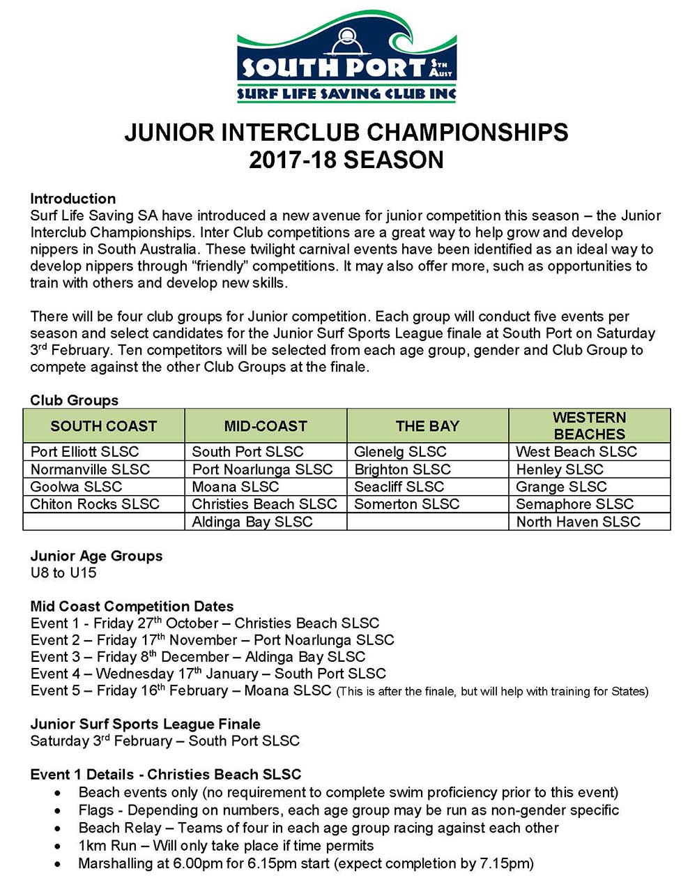 Junior Twilight Carnivals 2017-18